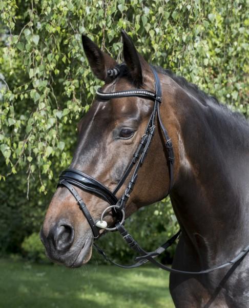 "Bridle ""Lyra"", black, Swedish noseband"