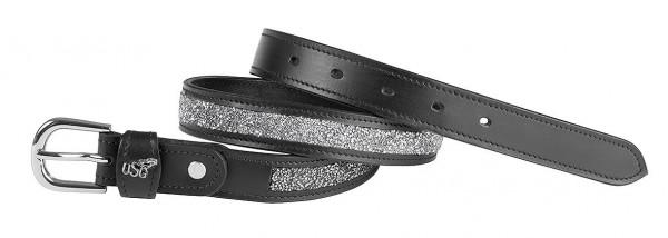 "Leather belt black ""Mosaik"", silver col. buckle"