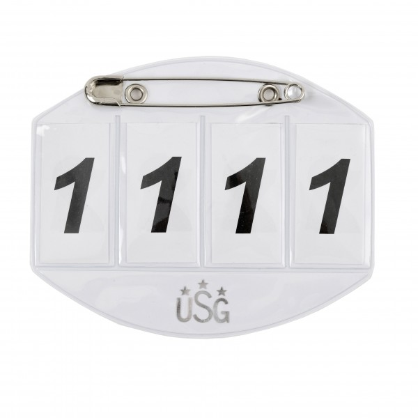 Horse starting number with safety pin